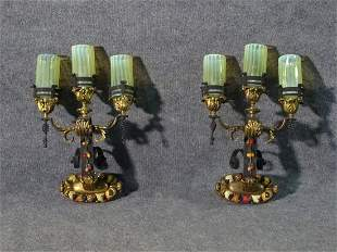 PAIR WROUGHT IRON WALL MOUNT SCONCES