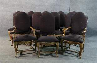 12 FRENCH CARVED DINING CHAIRS