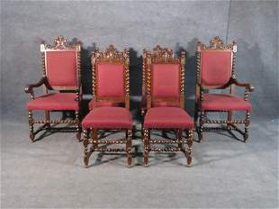 6 ANTIQUE OAK CARVED DINING CHAIRS