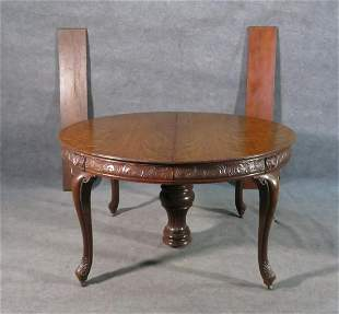 ANTIQUE OAK CARVED DINING TABLE