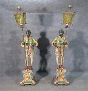 PAIR CARVED CONTINENTAL FIGURE LANTERNS