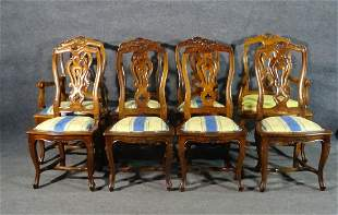 8 FRENCH CARVED WALNUT DINING CHAIRS