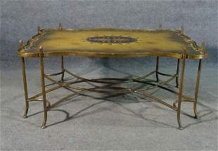 PAINT DECORATED METAL COFFEE TABLE