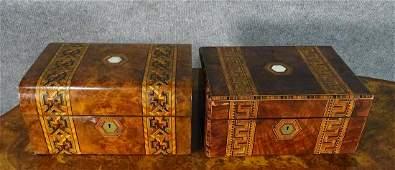 TWO ENGLISH TURNBRIDGE INLAID BOXES