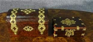 TWO ANTIQUE ENGLISH BOXES W METAL MOUNTS
