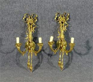 PAIR BRASS WALL MOUNTED SCONCES