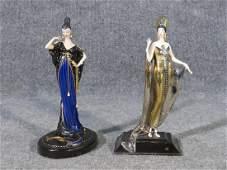 TWO ERTE LADIES IN GOWNS FIGURINES