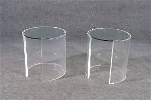 PAIR LUCITE AND GLASSTOP MODERN END TABLES