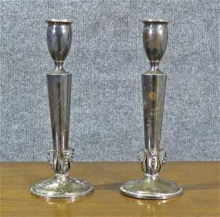PAIR GEORGE JENSEN STYLE STERLING SILVER CANDLE STICKS
