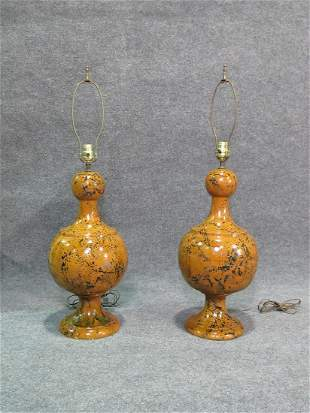 PAIR MID CENTURY MODERN POTTERY LAMPS
