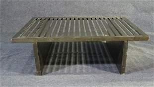 BRONZE SLAT TOP COFFEE TABLE