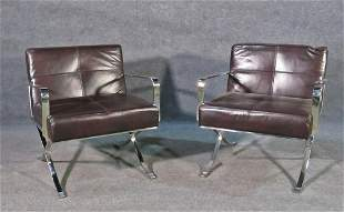 """PAIR  """"X"""" BASE LEATHER CLUB CHAIRS"""