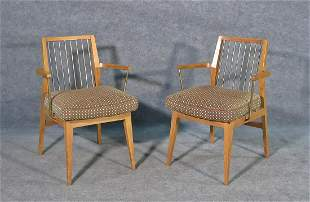 PAIR PAUL MCCOBB STYLE BRASS AND WALNUT  ARM CHAIRS