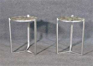PR MID CENTURY DESIGN AGATE TOP TABLES