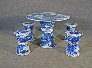 ASIAN PORCELAIN TABLE W/4 STOOLS