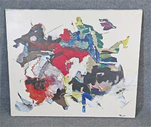 """SIGNED MILLER """"PERSIENNE"""" ABSTRACT PAINTING ON CANVAS"""