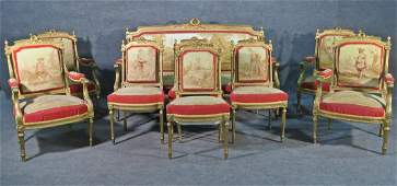 9 PC LOUIS XVI STYLE AUBUSSON PALOR SET