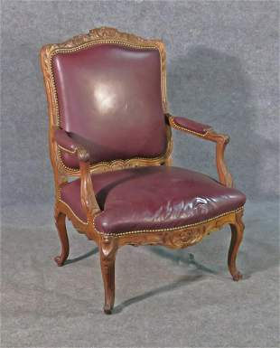 LOUIS XV STYLE LEATHER ARM CHAIR