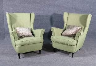PAIR GIO PONTI STYLE WING BACK ARM CHAIRS