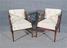 PAIR HOLLYWOOD REGENCY STYLE ARM CHAIRS
