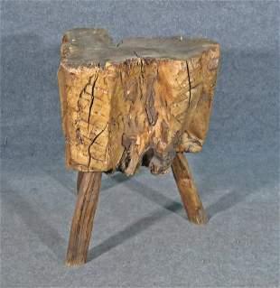 PRIMITIVE SOLID WOOD THREE LEG BUTCHER TABLE