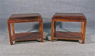 PAIR MING STYLE WALNUT TWO TIER END TABLES