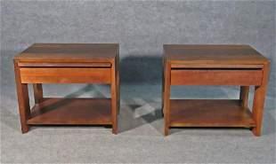PAIR MID CENTURY MODERN WALNUT END TABLES