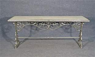 ANTIQUE MARBLE TOP & METAL CONSOLE