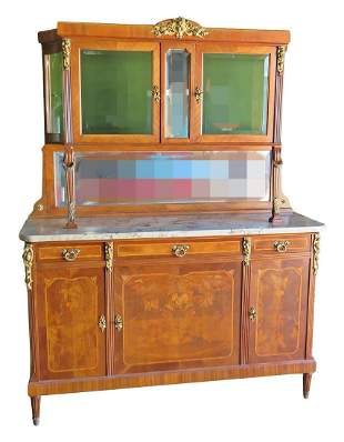 FRENCH SIDEBOARD WITH CURIO TOP