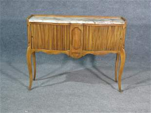 COUNTRY FRENCH MARBLE TOP TAMBOUR CONSOLE