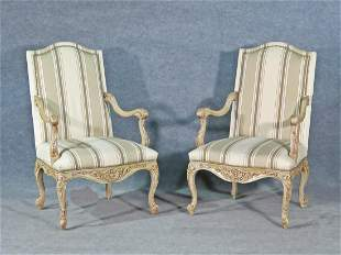 PAIR FRENCH CARVED OPEN ARM CHAIRS