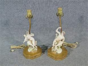 PAIR BISQUE FIGURAL LAMPS