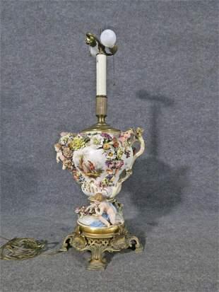 PORCELAIN & BRONZE FIGURAL LAMP