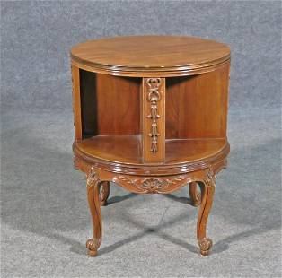 FRENCH CARVED REVOLVING BOOKCASE TABLE