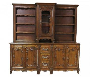 ANTIQUE FRENCH CARVED 2 PC HUTCH