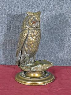 BRONZE OWL INKWELL