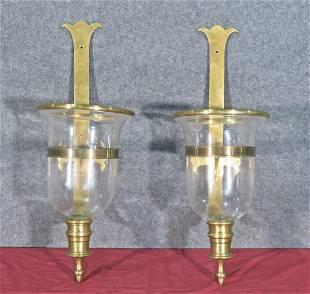 PAIR BRASS & GLASS HURRICANE LANTERNS