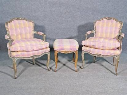 PAIR OF LOUIS XV BERGERES with FOOTSTOOL