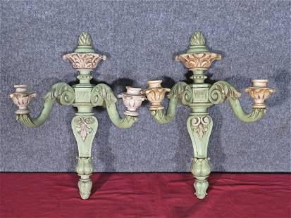 PAIR GREEN PAINTED WOOD SCONCES