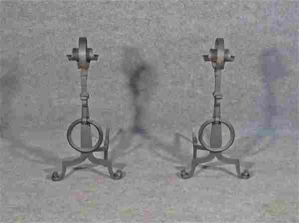 PAIR 19TH C HAND WROUGHT ANDIRONS