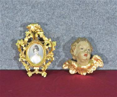 ANTIQUE GILDED PUTTI & FRENCH PAINTING ON IVORY