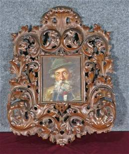 AUSTRIAN PAINTING IN BLACK FOREST FRAME