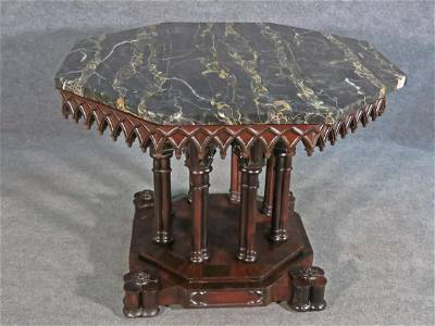 AMERICAN GOTHIC REVIVAL MARBLE TOP CENTER TABLE