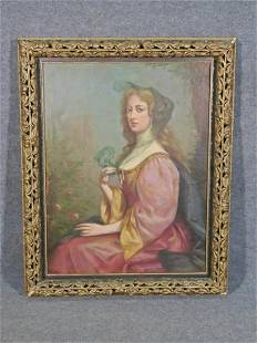 ANTIQUE FRENCH PORTRAIT OIL PAINTING GIRL