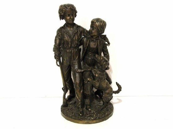 """21: 21"""" FRENCH BRONZE of 2 YOUNG BOYS"""