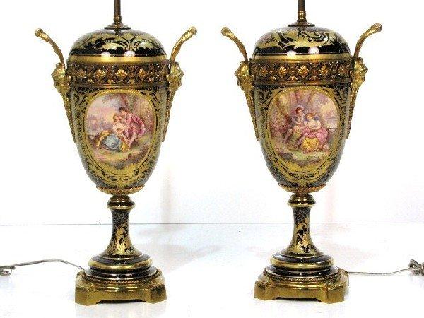 24: Pr. BRONZE MOUNTED COBALT SEVRES LAMPS