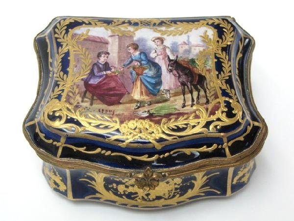 4: HAND PAINTED SEVRES COBALT HINGED BOX