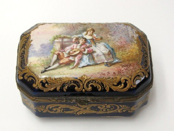 5: HAND PAINTED SEVRES COBALT HINGED BOX