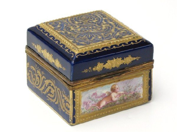 6: HAND PAINTED SEVRES COBALT SQUARE HINGED BOX