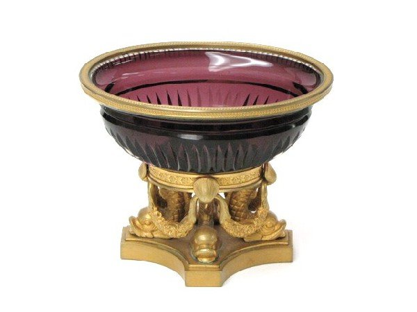 10: FRENCH GILT BRONZE & AMETHYST CRYSTAL COMPOTE